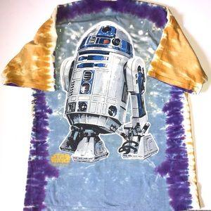 "Vintage 90's ""STAR WARS"" Tie Dye R2D2/C3PO Tee Xlg"